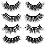 KellyRoom 8D Mink Lashes Luxurious Natural Look Messy Volume Fluffy Long Wispiees False Eyelashes Pack of 4 Pairs