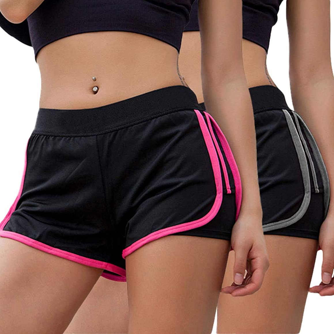 Little Beauty Women's Yoga Elastic Waist Running Athletic Shorts