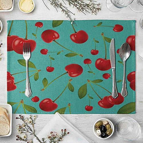 HIUYOO Lot de 4 Sets de Table Tapis Table A Manger 40x30cm Cerise Fruits Rouge Vert Tapis de Table pour Cuisine