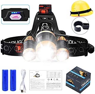 LED Headlamp, 2400 Lumen Brightest Headlamps Flashlight 18650 Rechargeable Headlight Battery Powered Waterproof 4 Modes Head Lights for Camping Hiking Running, Adjustable Strap, 2 Batterie (3LEDs)
