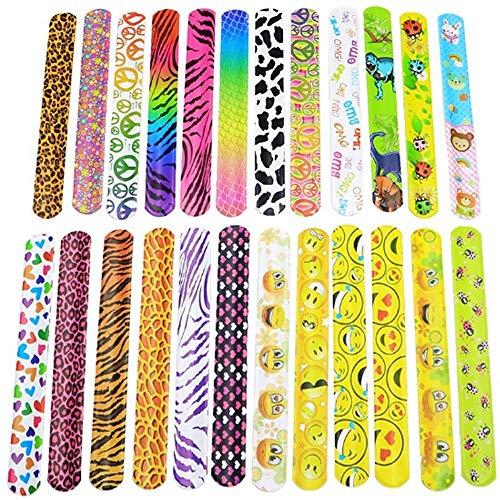 WH 24 stuks slap armbanden voor party Favors Pack met kleurrijke harten emoji Animal Print Design Retro Slap Bands voor kinderprijzen, Kids Party Favors