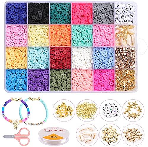 4080 Uds Cuentas de arcilla para la fabricación de joyas, Macllar 20 colores Cuentas planas de 6 mm, cuentas de letras, cuentas de semillas, kits de manualidades de collar de pulsera de bricolaje