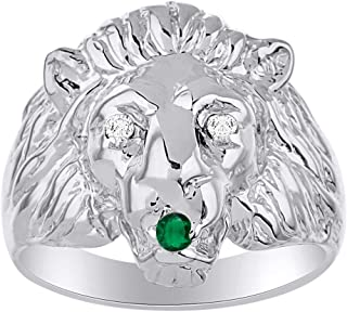 Lion Head Ring with Genuine Diamonds & Precious Stones Set in Sterling Silver or 14K Yellow Gold Plated Silver .925