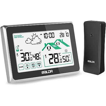 Osaloe Stazione Meteo con Sensore Esterno, Termometro Igrometro da Interno ed Esterno con Touchscreen LCD, Orologio Digitale per Monitor Temperatura-umidit¨¤ (Nero)