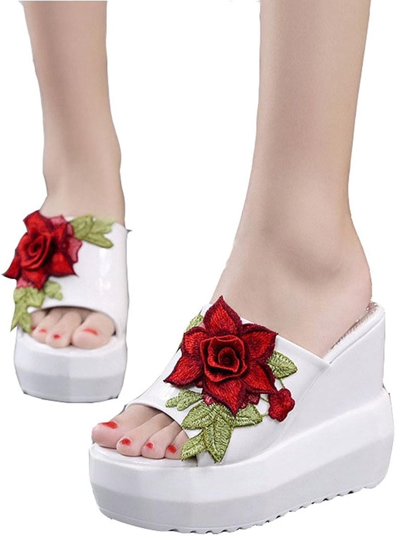 T-JULY Womens Summer Beach Wedge Platform High Heels Slide Sandals No-Slip Waterproof Girls Slippers