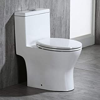 WOODBRIDGE B-0050 T-0031/B0500 T-0031 Short Compact Tiny One Piece Soft Closing Seat, Toilet for Small Bathroom, white