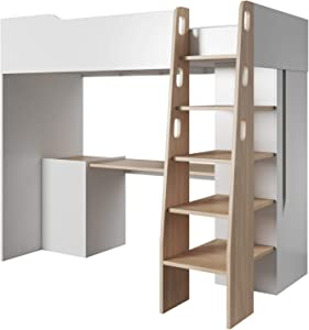 E-MEUBLES Lit Mezzanine pour Couchage 90X200 cm 1 Place /1 Personne Chambre d'enfant Blanc HABO A