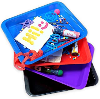 Activity Plastic Tray - Art + Crafts Organizer Tray, Serving Tray, Great for Crafts, Beads, Orbeez Water Beads, Painting (Set of 4 Colors - Red, Blue, Purple, Black)