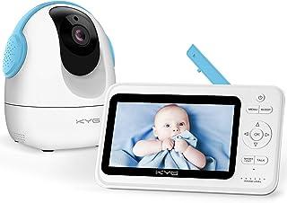KYG Vigilabebés Inalambrico Monitor para Bebé 720p Pantalla 5 Pulgadas TFT LCD Cámara Rotativa 350° Visión Nocturna y Zoom en Imagen