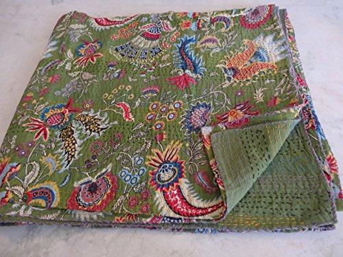Tribal Asian Textiles Mehrfarbiges Paisleymuster für Queen-Size-Bett, Kantha-Decke, Bettdecke, Kantha-Tagesdecke, Bohemian-Bettdecke, Kantha-Größe, 228 x 274 cm 1114