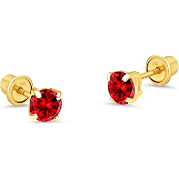 14k Yellow Gold Childrens 4mm Synthetic Red January Screwback Post Earrings