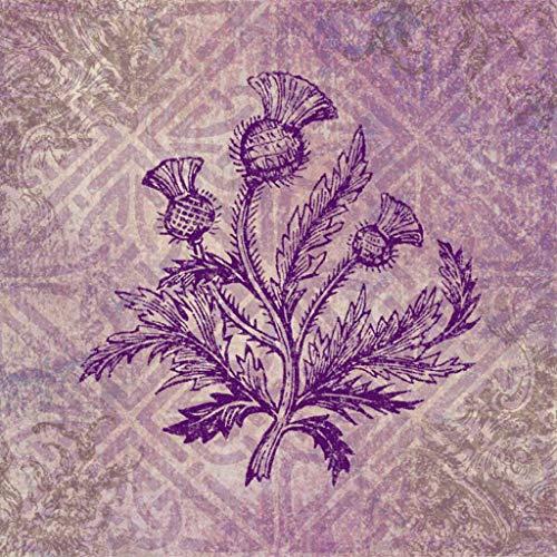 Qoalips 5D Diamond Painting Kits, Scottish Thistle Purple Celtic? Painting Arts Craft Canvas Full Drill Cross Stitch, 12x12 Inch
