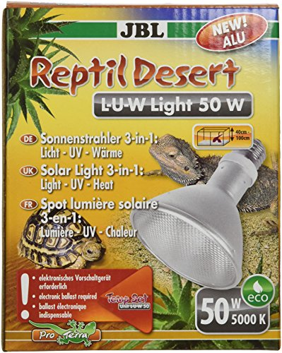 JBL ReptilDesert L-U-W 61891 Spot-Sonnenstrahler für Wüstenterrarien, Aluminium, 50 W