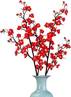 Sunm boutique 2 Pack Plum Blossom Artificial Flowers Simulation Flower Table Decoration Accessories Party Beach Theme Decorations (Red, Pack of 2)