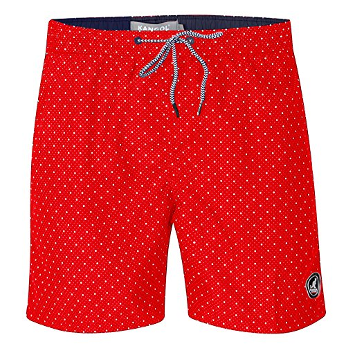 Kangol Herren Fenway Schwimm Shorts Designer gepunktet Surfbrett Strand Badehose - Rot, Small