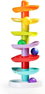 infunbebe Ball Drop Tower Colorful Ball Run Toy with 7 Balls for Toddlers, Activity Toy for Infant from 12 Months and up
