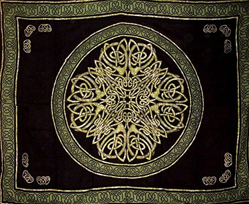 India Arts Celtic Circle Tapestry Cotton Bedspread 108' x 88' Full-Queen Green