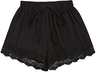 SheIn Women's Casual Elastic High Waist Lace Trim Wide Leg Knot Front Shorts