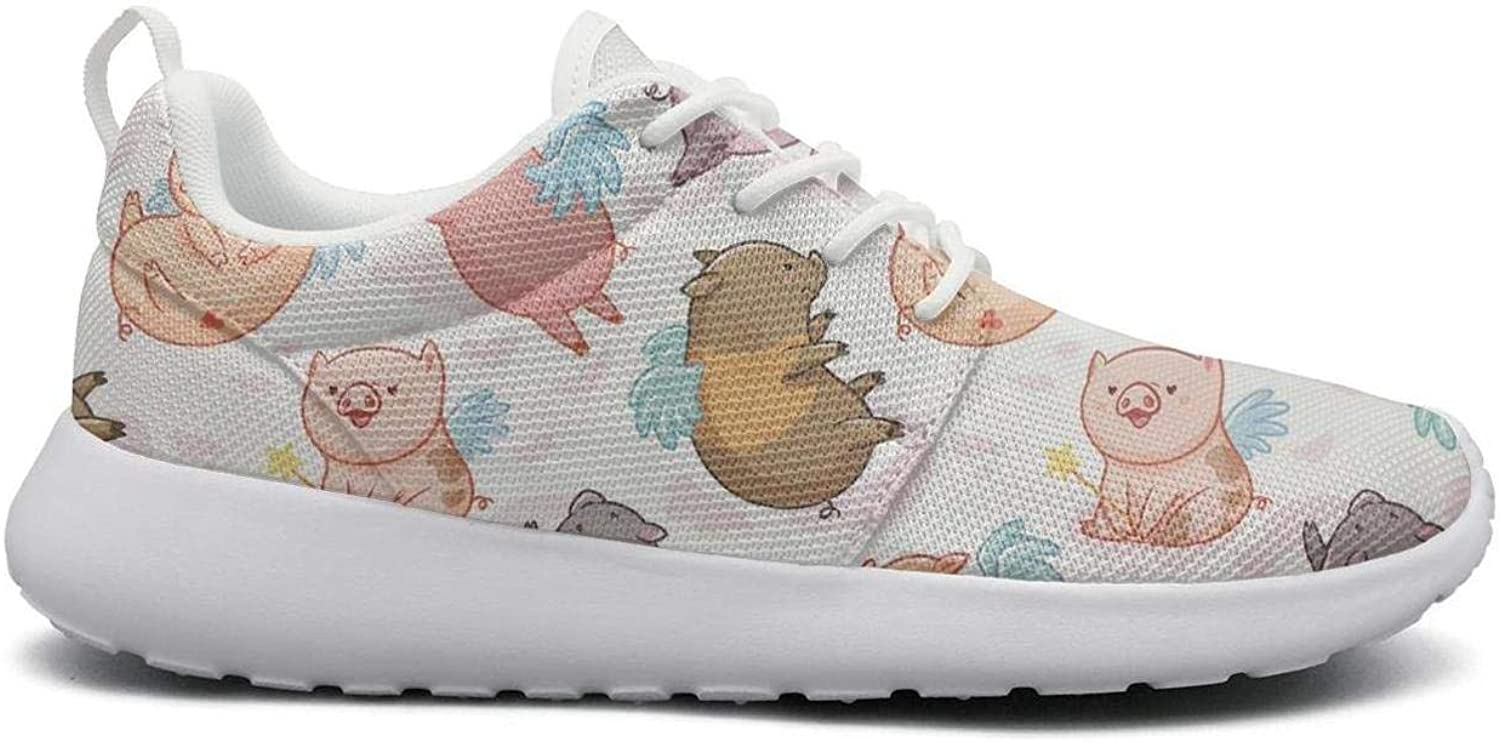 Gjsonmv Pig Unicorn with Wings mesh Lightweight shoes for Women lace up Sports Athletic Sneakers shoes