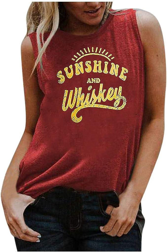 Women's Sleeveless Tank,Women Crop Top Letter Printed Shirts Loose Soft Workout Blouse Comfortable Tank
