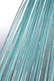 Haus und Deko Fadenvorhang Fadengardine mit Lurex veredelt Metallic Effekt Gardine Vorhang türkis 90x250 cm
