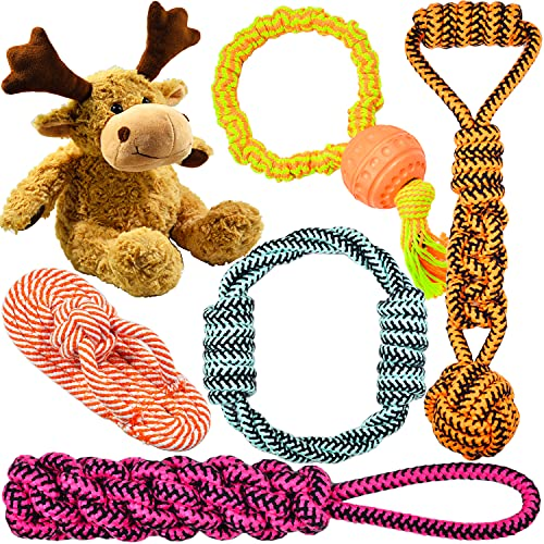 [Reliable Version] Well Love Dog Toys - Chew Toys - Squeak Toys - Christmas elk Dog Toys - Long-Lasting Elastic Rope with Ball - 100 Natural Cotton Rope - Dog Toy Pack - Gifts for Dog 6pack Set