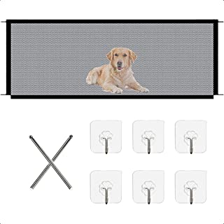 Magic Pet Gate, Portable Folding Pet Screen Door with 6 Sticky Hooks, Retractable Safety Mesh Gate for Outdoor Doorways an...