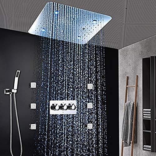 shengshiyujia Hotel Luxus Badezimmer Duschsystem LED Duschpaneel 20 Zoll Decke Bad Armaturen Massage Warmen und Kalten Mischer Set