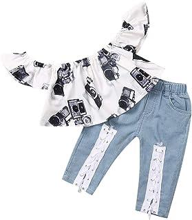 2PC Ragazze Completini Bambina Flare Maniche Stampa Girasole Camicia T-Shirt Cime Bowknot Pantaloncini Vestiti
