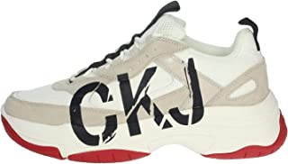 Calvin Klein Mizar Low Top Lace Up Sneaker Uomo B4S0651 100 Bright White Stone (Numeric_41)