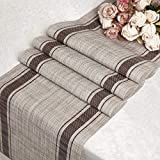 DOLOPL PVC Brown Strip Table Runners 12'72' Easy to Clean Non-Slip Heat Resistant Modern Farmhouse Table Runner for Family Dinner Dining Office Kitchen Table Thanksgiving Christmas Party