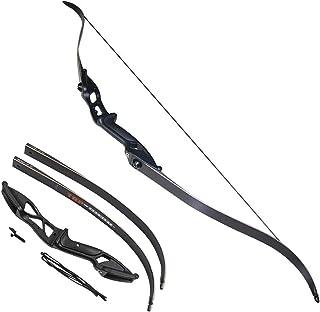 Toparchery アーチェリー用弓 狩猟弓 弓道練習 弓 56インチ ロングボウ リカーブボウ 取り外し可能 組立簡単 高品質 ブラック30-50lbs