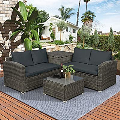 Danxee Outdoor Patio Furniture Sets 4 Piece Conversation Set Wicker Rattan Sectional Sofa with Seat Loveseat with Coffee Table & Storage Ottoman Backyard, Porch, Lawn (Gray)