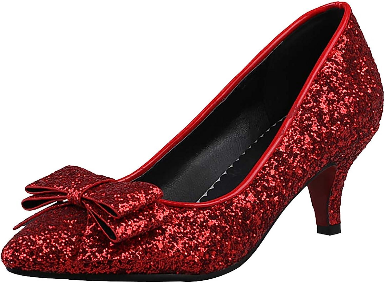 Artfaerie Womens Sequin Pointed Toe Kitten Heel Pumps Glitter Bows Wedding Bridal Dress Court shoes