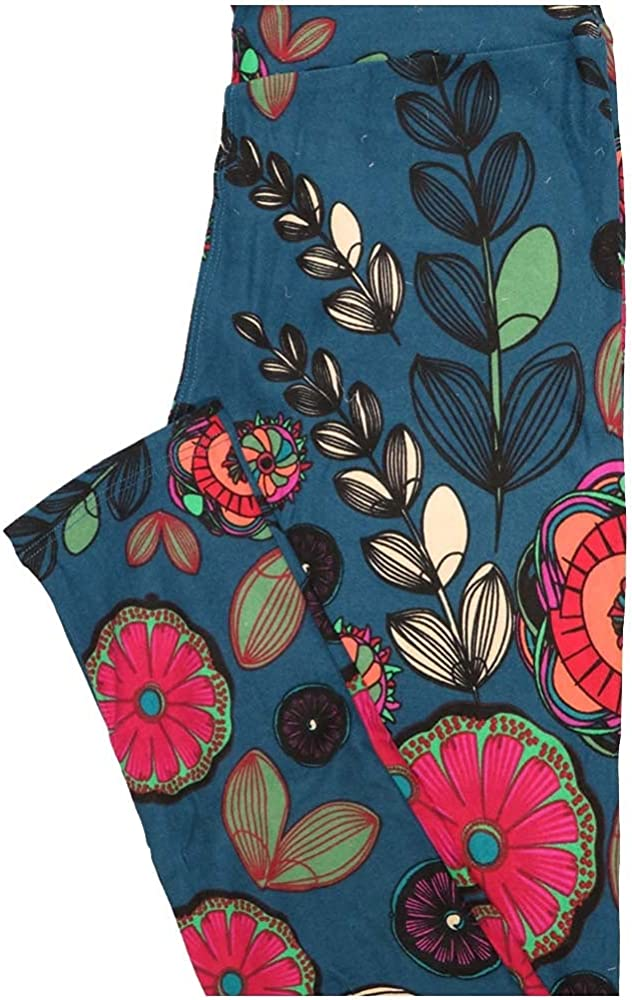 Lularoe One Size OS Blue Green Pink Floral Buttery Soft Leggings - OS fits Adults 2-10