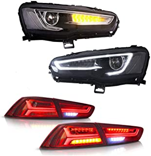 MOSTPLUS Headlights W/Full Black Housing & Red Clear Tail Lights for 08-17 Mitsubishi Lancer EVO X