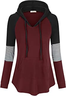 Womens Color Block V Neck Tunic Hoodie Casual Pullover Tops Long Sleeve Sweatshirt