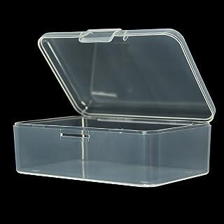 EMVANV Caja de almacenamiento de plástico transparente cuadrada pequeña con tapa para caja de joyería accesorios caja de acabado