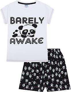 Para niñas apenas despierto Panda corto pijama PJ en blanco y negro 9–16años