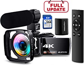 【Full Upgrade】 Ultra HD 4K Camcorder Vlogging Video Camera 60FPS YouTube Camera Digital Recorder Remote Control IR Night Vision with Powerful Microphone, Wide Angle Lens, Lens Hood, Batteries
