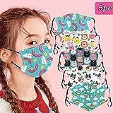 5 Stück Mundschutz Kinder mit Motiv waschbar, Atmungsaktive mundbedeckung Stoff Baumwolle Anti-Staub Wiederverwendbar mundschutz Für Radfahren (Mehrfarbig)