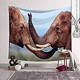 PatTheHook Tapiz De Pared, Naturaleza Salvaje Animales Tapiz Colgante De Pared Par De Elefantes Africanos, Tejido Rectangular Grande Decoración Artística De Salón Dormitorio,200×150Cm.