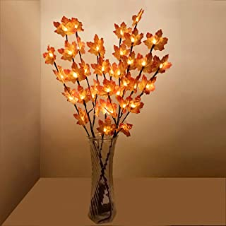 2 Pack Maple Leaf Branch Lights 30 Inch 20 LED Thanksgiving Decoration Lighted Twig Branches Battery Operated Maple Leaf T...