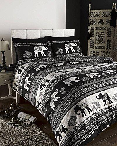 DE CAMA Copripiumino Motivo Indiano Imperiale con Elefanti, Matrimoniale, Colore: Nero