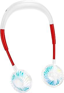 首掛け扇風機 充電式 3段風量調節 2600mA オフィス アウトドア 静音運転 熱中症対策 携帯扇風機 虹色LEDライト付き