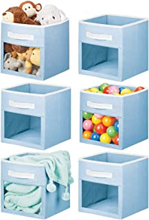 mDesign Soft Fabric Closet Storage Organizer Cube Bin Box with Easy-View Front Window, Handle - for Child/Kids Room, Nurse...