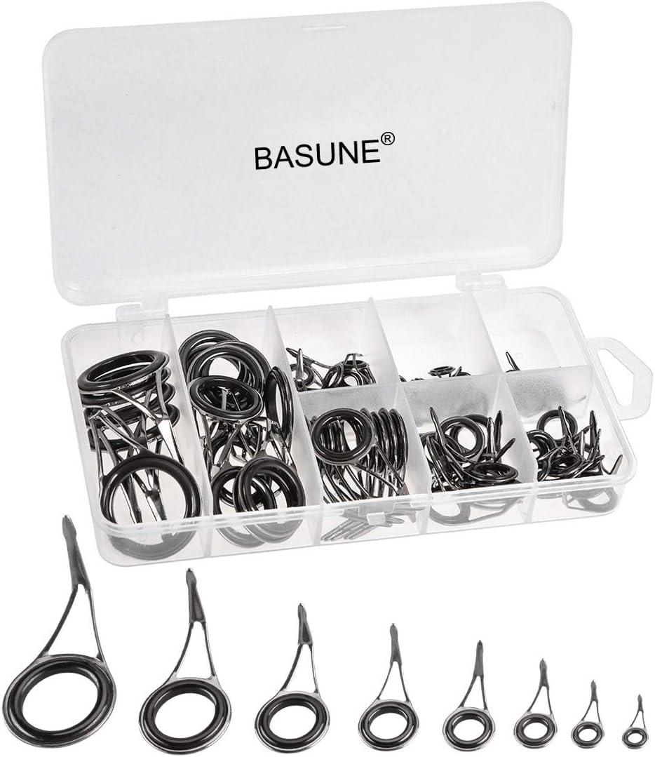 80Pcs 10 Sizes Ceramic Fishing Rod Guide Tips Top Eye Rings Line Repair Kit Sets