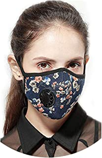 One Mask + 5 Filters Military Grade N99 Carbon Activated Anti Dust Face Mouth Cover Mask Respirator-Dustproof Anti-Bacterial Washable -Reusable Respirator Comfy-Cotton (N99 Mask-Flower)