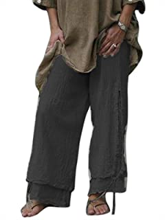 keepwo Women's Baggy High Wasited Trousers Palazzo Plus Size Layered Cotton Pants Ladies Casual Boho Trouser