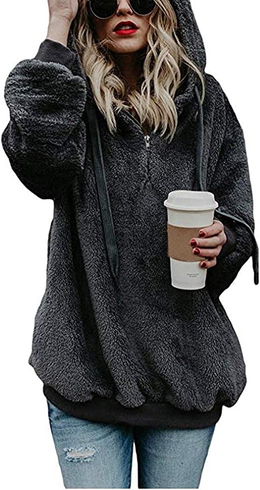 Gibobby Hoodies for Women Pullover Oversized Warm Fuzzy Sweatshirts Cozy Loose Zipper Hooded Sweatshirt Outwear with Pockets